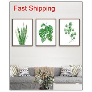 Modern Watercolor Tropical Leaf Posters Canvas Floral Green Plant Art Prints Living Room Kitchen Wall Photos Pain qyleCK new_dhbest