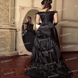 Vintage Black Victorian Bustle Wedding Dresses 2021 Elegant Off The Shoulder Satin Gothic 1960s Wedding Dress Corset Country Bridal Dress
