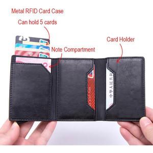 Dienqi Carbon Rfid Credit Card Holder Men Leather Metal Wallets Slim Coin Holder Bank Cardholder Case Travel Minimalis jllWjL
