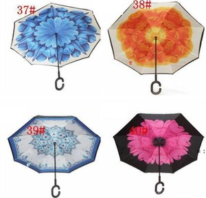 C-Hand Reverse Umbrellas Windproof Reverse Double Layer Inverted Umbrella Inside Out Stand Windproof Umbrella Car Umbrellassea way HWD9376