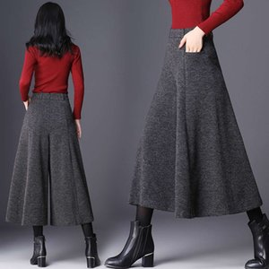 20212020 wide autumn and winter new tweed Capri Hong Kong style fashion women's swing leg Pants