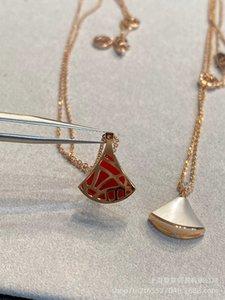 Akik V altın kolye küçük etek fan kırmızı beyaz fritillaria Morsang Stone ile kakma
