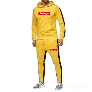 2021 The New brand Mens set Tracksuit Hoodies suit Fashion Streetwear Hoodie Sweatshirts Print SAVAGE sportwear yellow Clothing C876