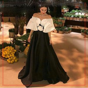 2021 Black and White Off the Shoulder Flower Evening Dress Robe De Soiree Islamic Dubai Kaftan Saudi Arabic Evening Gown Prom Dress