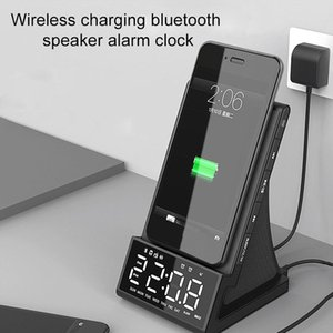 Wireless Charger Alarm Clock Bluetooth Speaker LED Smart Digital Table Electronic Desktop Clocks Fm Radio USB Fast