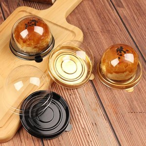Gold Round Plastic Cake Box Baking Packaging Box Egg Yolk Biscuit Plastic Blister Box For Guests Party Favors EWA3912