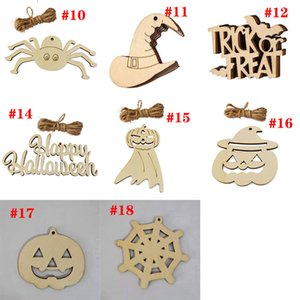 Creative Wooden Halloween Decoration Crafts Holiday Party Decor Pendant Home DIY Graffiti Wood Chip GWB10297