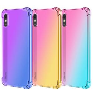 Gradiente colorido a prueba de golpes transparente transparente TPU Casos del teléfono para redmi Note 10 9 9T 9S 9A 9C 8 8A PRO Xiaomi 10T 11 esquinas absorbentes de choque cubierta de teléfono celular