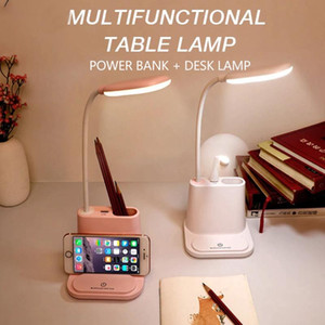 Led Small Desk Lamp Touch Adjustment Usb Rechargeable Table Light Pen Holder with Fan Eye Protection Learning Lamp for Student