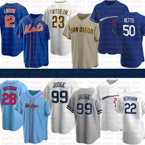 23 Fernando Tatis Jr. 28 Nolan Arenado 99 Aaron Juiz 12 Francisco Lindor Mookie Betts Clayton Kershaw Baseball Jersey Los New Angeles York