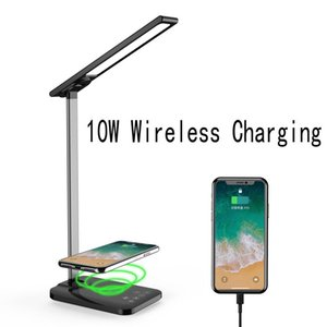 LED Desk Lamp - Office Desk Lamps with Wireless rechargeable and USB Charging Port Dimmable Eye-Caring for Working, Reading