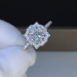 GeOKI 925 Sterling Silver Passé Test 1-3CT D Couleur VVS1 Moissanite Princess Engagement Luxe Diamond Bague Bijoux