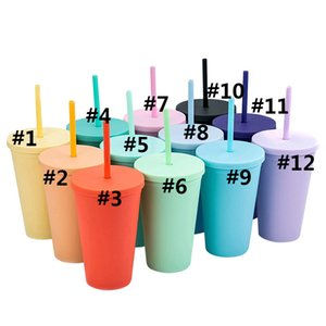 16OZ Double Layer Plastic Straw Cups Colorful for Adults Kids Straight Coffee Cup Printing Plastic Frosted Water Cup With Straw H32SZ9X