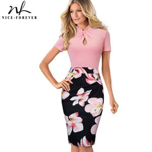 Nice-forever Vintage Contrast Color Patchwork Wear to Work Knot vestidos Bodycon Office Business Sheath Women Dress 210222