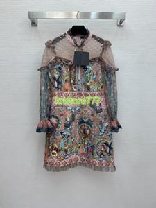Yüksek Son Özel Kadın Kızlar A-line Gömlek Elbise Sequins Dekorasyon Uzun Etek 2021 Pist Hayvan Desen Kristal Bluz Midi Elbise
