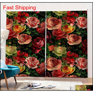Luxury Blackout 3d Window Curtains For Living Room Bedroom Morden Flower Curtains 3d St jlllit loveshop01