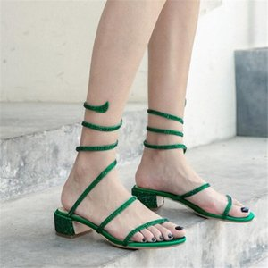 PXELENA 6 Candy Color Deisgner Crystal Studded Snake Shaped Sandals Women Silk Cuban Low Heels Party Dress Date Shoes Lady 2019 q81Q#