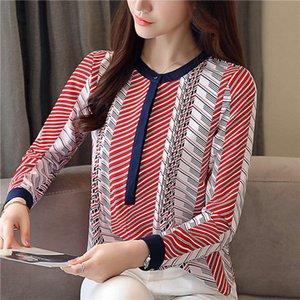 Biboyamall Neue Mode Print Chiffon Langarm Weibliche Tops Bluse Frauen Hemd Blusas Weibliche Blusen