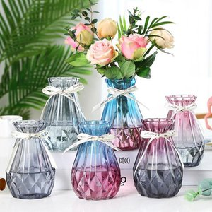 Decoración nórdica decoración de vidrio jarrón de vidrio decoración flor maceta color cristal hidroopónico planta flor artesanía artesanía