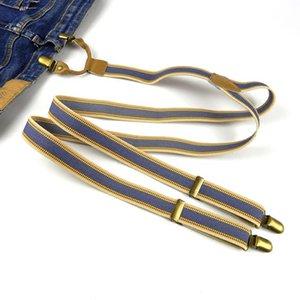 Elastic Clip-End Raipbow Stripe Suspensórios Ajustável Heavy Duty YO Back Suspenders Clip On Unisex
