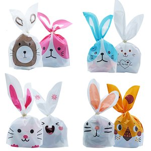 10 50pcs lot Cute Rabbit Ear Bags Cookie Plastic Bags&Candy Gift Bags For Biscuits Snack Baking Package And Event Party Supplies