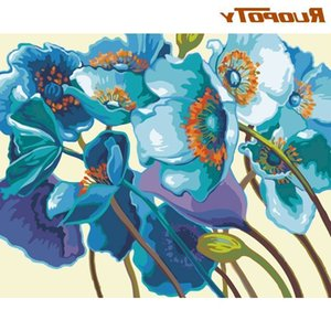 RUOPOTY DIY Oil Paint By Numbers Kits Colorful Flower Picture By Number HandPainted Diy Gift Home Decoration Artwork 60x75 Frame