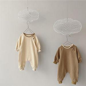 Milancel New Baby Rompes Régie Cheveux Enfant Vêtements Bref Style Bébé Baby Garçon Romper Manches longues Gaufle bébé Vêtements 210303