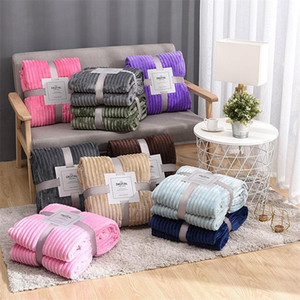 Flannel Blanket Soft Warm Coral Fleece Blanket Winter Sheet Bedspread Sofa Plaid Throw 270Gsm Light Thick Mechanical Wash Blanket