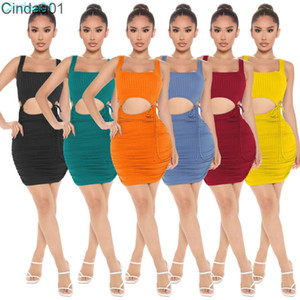 Women Dress Two Pieces Designer 2021 New Slim Sexy Sleeveless Solid Colour High Elastic Lace Up Tight Hip Fashion Skirt Suits
