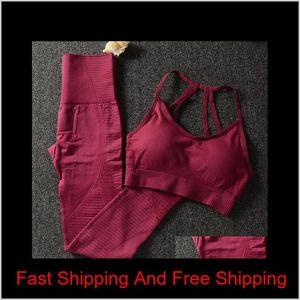 Women Yoga Set Seamless Fitness Clothing Sportswear Woman Gym Leggings Padded Push-up Strappy Sports Bra 2 P qyloYi my_home2010