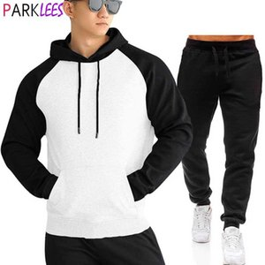 Raglan Sleeves Mens Sweatsuit 2 Pcs Hoodie Tracksuit Sets Casual Comfy Patchwork Sweatshirt+Sweatpants Men Workout Running Suit