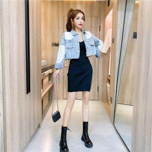 Il New2020 Autumn Moda Fashion Celebrity Temperament Colour Contrast Jacket Giacca Tight Sling Dress Suit Tempo libero Trendx