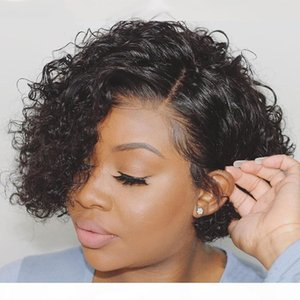 DIVA Pixie Cut full Lace Wig Short Curly Bob pre-plucked 150% Brazilian Water Wave Lace Front Human Hair Wigs 4x4 Lace Closure Wig