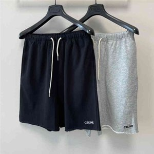 21 early spring new Celi sailin shorts with embroidered letter at raw edge and elastic waist drawstring casual Capris for men women