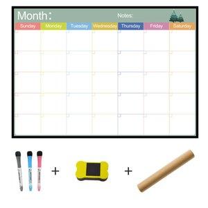 A3 Whiteboard Monthly Planner Magnetic Message Board for School Bulletin Memo Boards Fridge Magnet Calendar Daily Planner 210312
