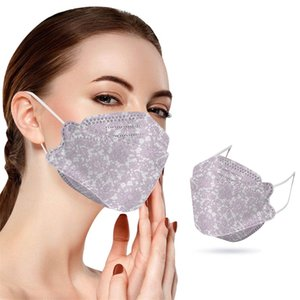 4 Layers 95%Filtration Efficiency 3D Fish Mouth Disposable Flower Print Dustproof Prevention of Influenza Mouth Masks Designer Adult 2101 V2