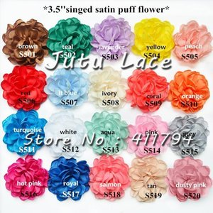 120 pcs lot ,3.5 '' handmade singed satin puff chiffon flowers for apparel accessories1
