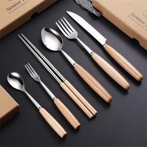 مقبض خشبي مجموعات السكاكين سكين شوكة ملعقة عيدان أدوات المائدة مجموعة مع هدية حزمة المطبخ المنزل أواني الطعام مجموعات GWB5181