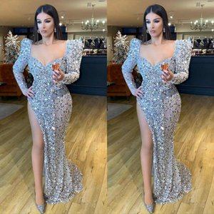 2021 Sparkly Sequined Evening Dresses with High Side Split Long Sleeve Sexy Prom Dress Robe De Soiree Party Bridesmaid Pageant Gowns