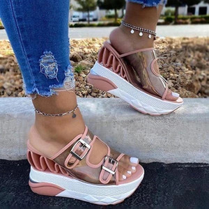 Women Wedges Heel Buckle Straps Sandals Comfortable and Breathable for Summer Beach Vacation J55 Q0224