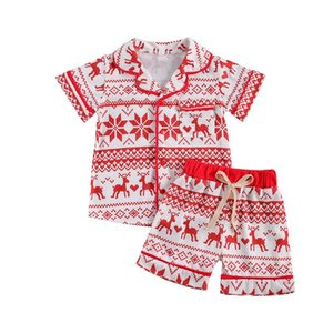 Clothing Sets Lioraitiin 2-6Years Toddler Baby Boy Girl Christmas 2Pcs Set Short Sleeve V-Neck Deer Printed Top Outfit