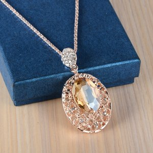 Hot Buy Long Rose Gold sier Color Hanger Women Jewelry Big Crystal Stone Chain Ladies Neckless Gifts for Girls