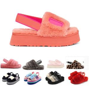 Women Pantoufle Slipper fur Disco Slippers Fur Rainbow Disco Checker Slide Slides Platform Sliders Sandals Hausschuhe Thick Bottom size35-44