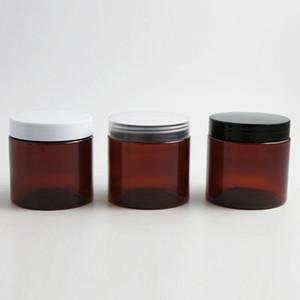 30 x 200 ml AMBER Brown Facilipal vacío PET con tapa blanca clara negra Tornillo de plástico Lids 200g Big Shott Bottle Cosmetic Container R2021