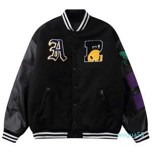 Мужские куртки хип-хоп бейсбольные пальто варьистости куртка мужчины уличная одежда вышитые буквы бомбардировщик Harajuku свободный унисекс