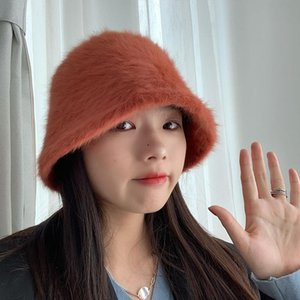 Winter Fashion Women's Bucket Hat Warm Soft Plush Fur Cap Korean Japanese Style All-Match Solid Color Retro Fisherman Hat