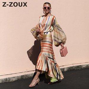 Z-Zoux Mujeres conjuntos de flevenes de la linterna de rayas Top con la falda de la cola de pescado largo de la cintura alta 2 piezas de la falda de las mujeres y el conjunto superior nuevo