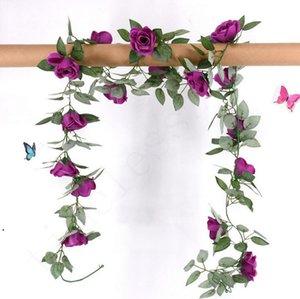 2.2M 인공 꽃 포도 나무 가짜 실크 로즈 아이비 꽃 결혼식 장식에 대 한 인공 포도 나무 매달려 가정 장식 DHD4811
