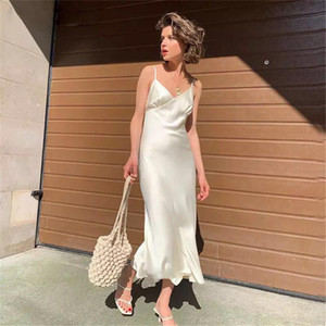 new Women Solid Color Long Sling Dress Sexy Sleeveless Backless Deep V-neck Sleepwear for Summer y2k lolita kawaii harajuku