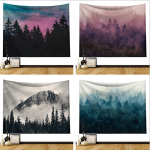 Nordic INS explosion buses decorative wall blanket tapeed beach towel tapestry black and white forest printing blanket to schedule